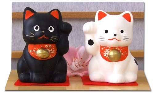 Gifts Of The Orient Maneki Neko Feng Shui paio nero & bianco