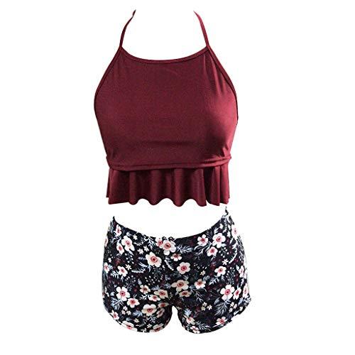 Vivitoch Familien-Bikini-Set mit Neckholder, gerüschtes Top, Boho Blumen-Shorts, rückenfrei, für Mutter/Mädchen silber - Silber Mädchen Shorts
