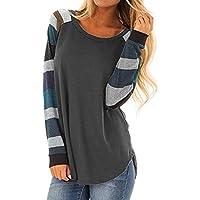 HWTOP T Shirt Damen Top Bluse Mode Frauen Streifen Casual Top Lose Langarm
