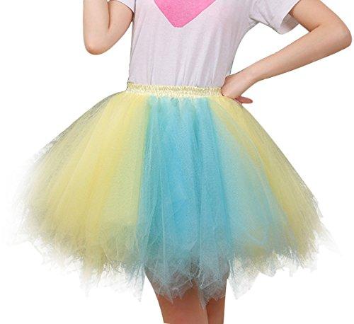 FEOYA Jupe Courte Bal Ballet Tulle en dentelle Costume Tutu Femme Jupon Princesse Bouffée Plissé Mini-jupe pour Danse Cosplay Déguisement Elastique Soirée Couleur optique 34 36 38 40 42 44 Multicolore 3