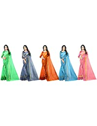 Florence Cotton with Blouse Piece Saree (Pack of 5) (FL-RSTCOM-5_19_Multicolor_One Size)