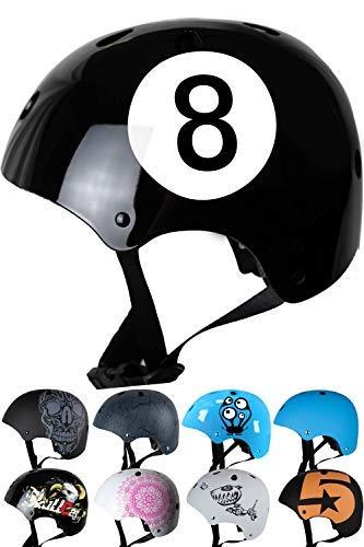 SkullCap® BMX Helm - Skaterhelm - Fahrradhelm - Herren Damen Jungs & Kinderhelm, schwarz, Gr. S (53-55 cm), Black-8 NextLevel