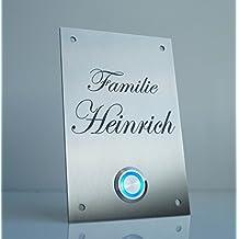 Campanello per porta di ingresso con piastra in acciaio inox e pulsante a LED,incisione personalizzata, idea regalo per matrimonio o