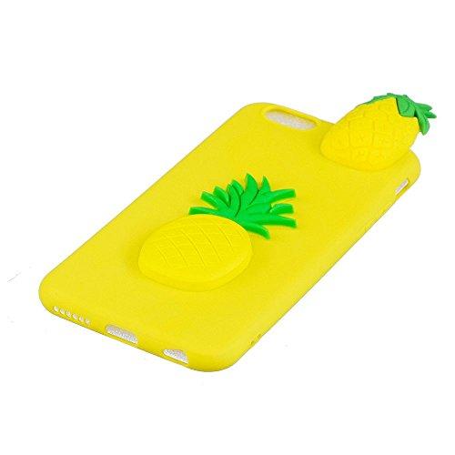 Cover iPhone 6 Plus Custodia Bello 3D Tridimensionale Cartoon Carina Animale Sollievo Proiezioni Modello Ultra Magro Sottile Silicone TPU Case Gomma Flexible Caso Colore Puro Fresco Caramella Tocco Mo Giallo