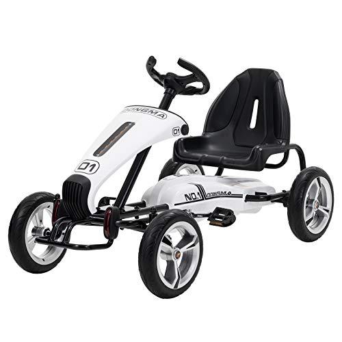 UEnjoy Pedal Go Kart Tretauto mit Verstellbarer Sitz,Lenkrad,Weiß