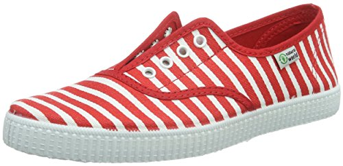 Natural World Ingles+Elastico Rayas, Baskets  fille Rouge (ROJO 02)