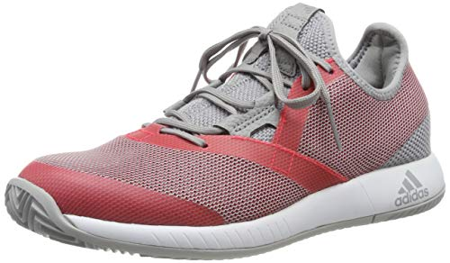adidas Damen Adizero Defiant Bounce Tennisschuhe, Grau Light Granite/Shock Red/FTWR White, 38 - Tennisschuhe Damen Allcourt