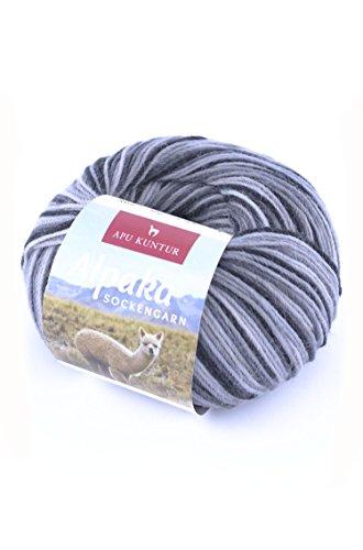 ALPAKA SOCKENGARN Wolle 5x50g 200m Nadel 2,5 Socken-Strick-Garn APU KUNTUR 5er-Pack grautöne (Superwash-wolle-socke-garn)