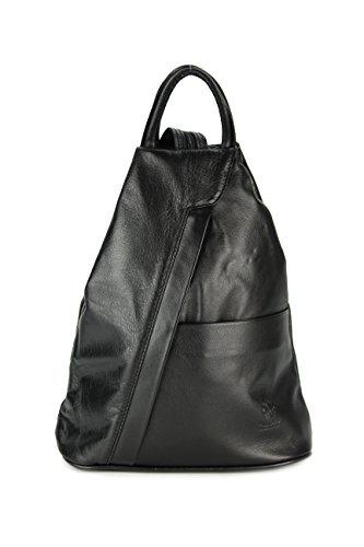 Belli 'City Backpack leichte ital. Leder Rucksack Handtasche - Farbauswahl - 29x32x11 cm (B x H x T) (Schwarz)