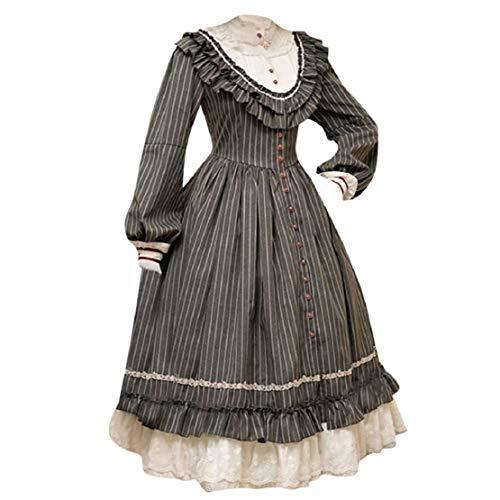 Bluelucon Damen Gothic Lolita Japan Rüschen Kleid Kostüm Dress Cosplay Babydoll Vintage Cocktailkleid Langarm Gothic Mittelalter Karneval Abendkleid gotische Kleider Spitze Abendkleider