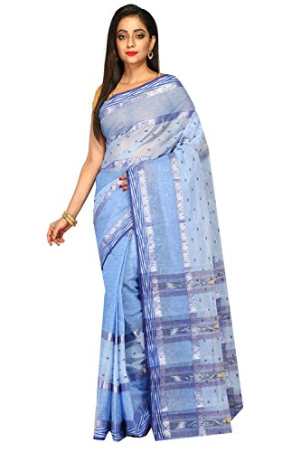 Madhushree Cotton Saree, Traditional Bengali Wear (Ocean Blue)