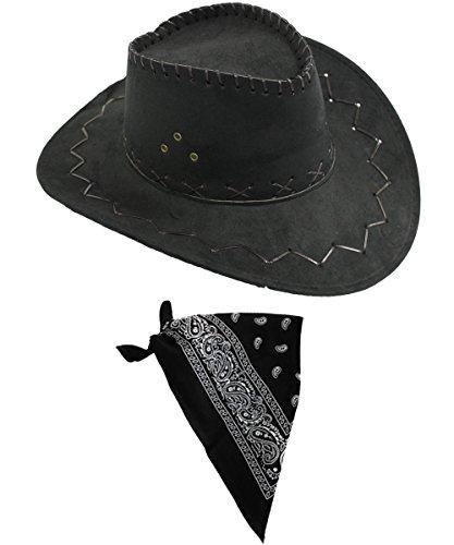 Wildleder Look Cowboy Cowgirl Western Hut KOSTÜM VERKLEIDUNG+VERSCHIEDENEN Paisley Bandana/Halstuch WILD West=Hut IN BRAUN ODER SCHWARZ+HALSTÜCHER IN 5 SCHWARZER Hut + SCHWARZES Halstuch