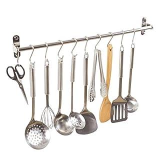 Alicemall SUS304 Edelstahl Küchen Hängeleiste Bad Hakenleiste mit 10 Beweglichen Haken (60cm)