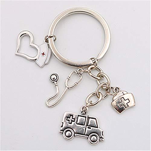 No brand Antique Silver Emergency Ambulance & Medical Box & Stethoscope & Nurse cap Charm Keychain DIY Handmade Metal Key Ch
