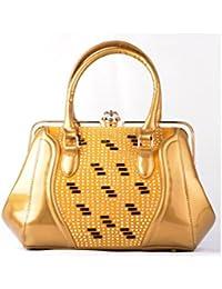 Hopping Street Stylish Elegance Fashion Gold Color Faux Leather Handbag for Women