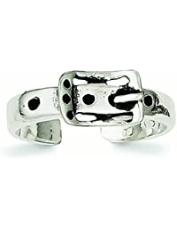 Sterling Silver Solid Antique Finish Antiqued Buckle Toe Ring - 2.0 Grams