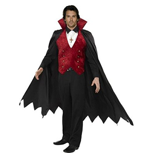 GGTBOUTIQUE mens Halloween nero rosso Dracula vampiro costume travestimento Red and Black Taglia unica