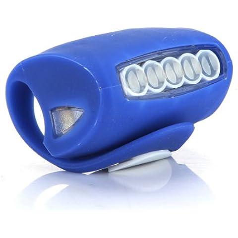 5 luces LED silicona bicicleta PRECAUCION seguridad posteriores - azul