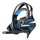 Tlgf Gaming Kopfhörer, LED 3,5 Mm Stereo-Stirnband Headset Beleuchtung MIC Für PC 7,1 Dolby Surround Mit Geräuschkulisse,Blue