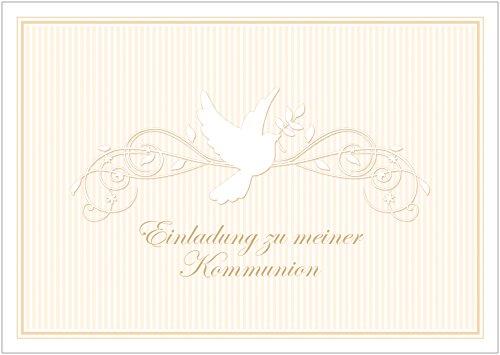 """Erhältlich im 1er 4er 8er Set: """"Einladung zu meiner Kommunion"""" schöne Einladungskarte zur Kommunion (Klappgrußkarte/ Grußkarte/ Kommunion Karte/ Firmung/ Feier) für ein Mädchen/ Junge in Creme/ Beige mit einem Ornament und Taube (Mit Umschlag) (4)"""