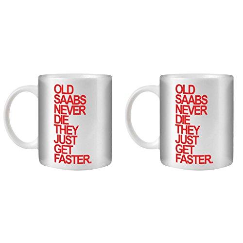STUFF4 Tee/Kaffee Becher 350ml/2 Pack Saab/Red Text/Alte Autos/Weißkeramik/ST10