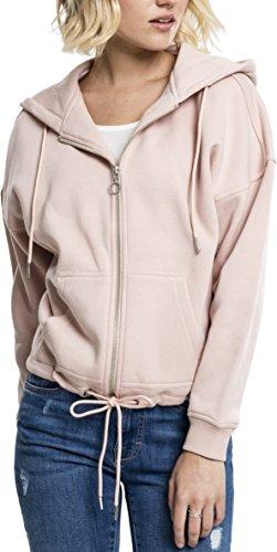 Urban Classics TB1726 Ladies Kimono Zip Hoodie - Sweatjacke für Damen mit Tunnelzug an Kapuze und Saum, Kapuzentjacke einfarbig - light rose, Größe S