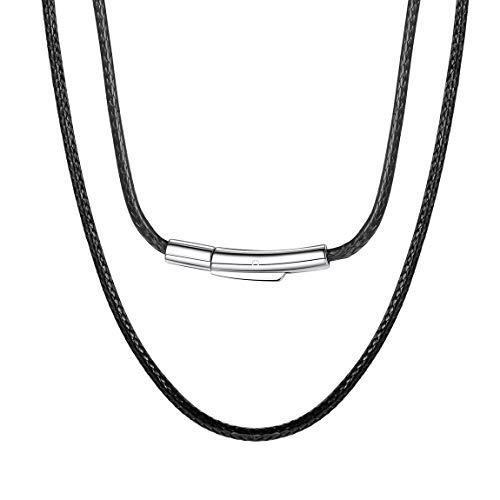 ChainsPro Leder Seil Ketten, 2mm Breit, Leder Seil Ketten, Brown/Schwarz 40,46,51,56,61,66,71,76cm,Personalisierten Gravur Leder Seil Ketten