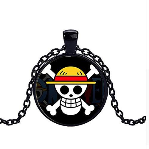 Kostüm Affen Piraten - Halsketten für Herren Halskette EIN Stück AFFE D Luffy Anime Schädel Anhänger Halskette Flagge Piraten Metall Halskette Cosplay Anime Halskette
