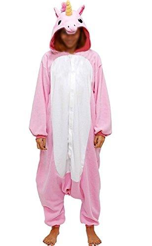 Anbelarui Tier Skelett Pinguin Dinosaurier Panda Einhorn Kostüm Damen Herren Pyjama Jumpsuit Nachtwäsche Halloween Karneval Fasching Cosplay Kleidung S/M/L/XL (XL, Rosa Einhorn)