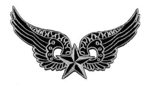 6.3cm x 11.6cm ala stella nautica chopper Biker moto Club abbigliamento, giacca, camicia, Polo, gilet, cappello DIY applique embroidered Sew Iron On patch