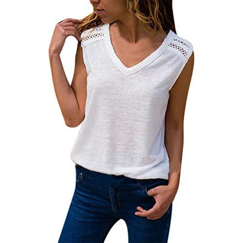Innerternet Damen Spitzentop Spitzentop Elegante Ärmellose V-Ausschnitt Loose Oversize Tee Basic Shirt Oberteile