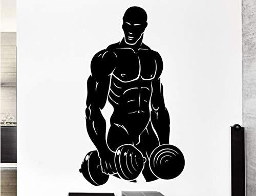 Ponana Qualität Abnehmbare Wandtattoo Sportler Bodybuilding Powerlifting Hantel Vinyl Aufkleber Dekoration Wandaufkleber 57X90 Cm