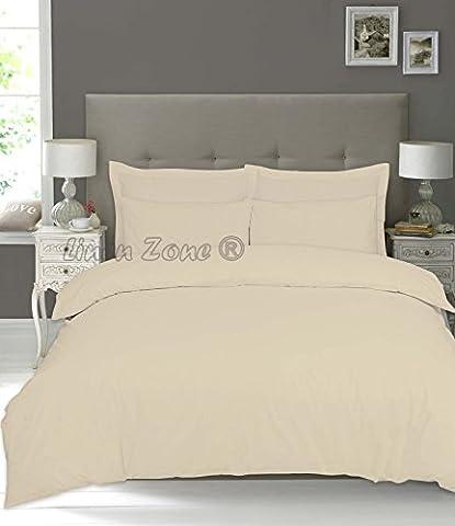 Linen Zone 100% Pure Natural Egyptian Cotton 200 Thread Count Duvet Cover Set Duvet Quilt Cover Pillow Cases (Double,