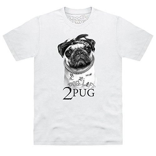 Goodie Two Sleeves 2 Pug T-shirt, Uomo, Bianco, L