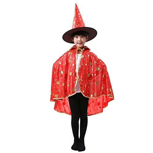 Samber Halloween Kostüm Hexe Zauberer Umhang mit Hut für Kinder Jungen Mädchen