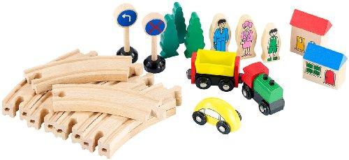 Preisvergleich Produktbild Playtastic Kleines Holz-Eisenbahn-Set mit 25 Teilen