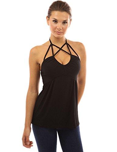 ... PattyBoutik Damen V-Ausschnitt Empire-Taille Top mit geometrischen  Bänder ohne Ärmeln Schwarz ...