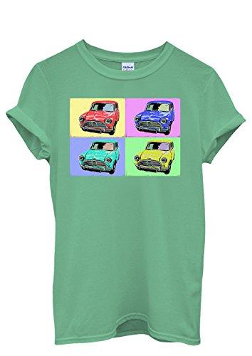 Mini Cars Vintage Retro Cool Funny Men Women Damen Herren Unisex Top T Shirt Grün