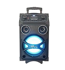 Lexibook K8200 - Equipo de karaoke(Bluetooth, Altavoz Luminoso, Sonido HD, Micro Incluido, Doble puert USB y AUX-IN, Ruedas y asa de Transporte, batería recargable), Negro