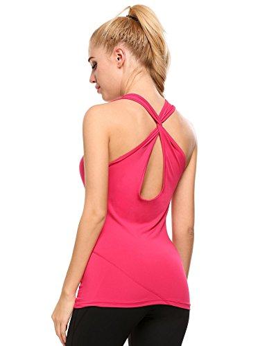 Coorun Femme Débardeur Yoga Sport Tank Top Dos Nu Avec Brassière Intégrée éponge Amovible Rose S
