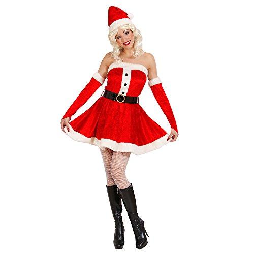 Widmann 14942 Erwachsenenkostüm Miss Santa aus Samt und Plüsch, Kleid, Gürtel, Handschuhe und Hut