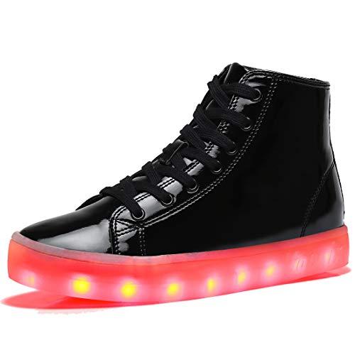 (Voovix Kinder Schuhe mit Licht LED Leuchtende Blinkende High-Top Sneaker Mädchen Jungen USB Aufladen Turnschuhe(Schwarz,38))
