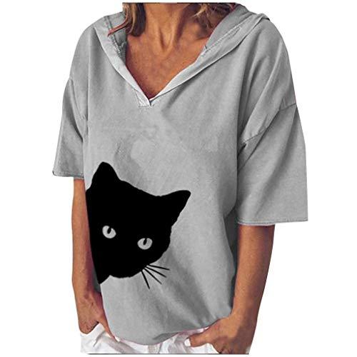 Axong Femme Tee-Shirt Loose Décontractée Coton Tête de Chat Imprimer Tops T-Shirt, Plus la Taille de Chemisier