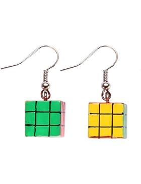 Retro Buntes Rubix Puzzle Würfel Stil Ohrhänger auf karte - 80er jahre messen 35mm lang