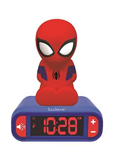 LEXIBOOK- Marvel, Spiderman-Reloj Despertador con Pantalla LCD Digital y luz de Noche integrada, quitamiedos...