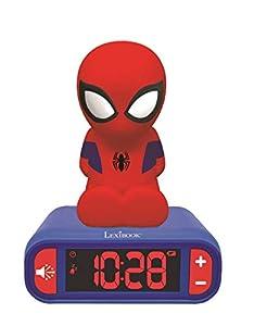 LEXIBOOK- Marvel, Spiderman-Reloj Despertador con Pantalla LCD Digital y luz de Noche integrada, quitamiedos niño RL80 Niño-Rl800, Color Azul/Rojo, Talla Única