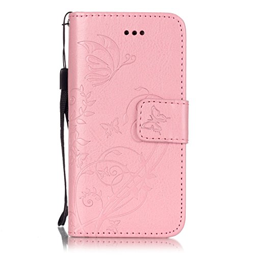JIALUN-Telefon Fall Mit Kartensteckplatz, Lanyard, Druck Schöne Muster Mode Open Handy Shell Für IPhone 5 5S SE ( Color : Blue , Size : IPhone 5S SE ) Pink