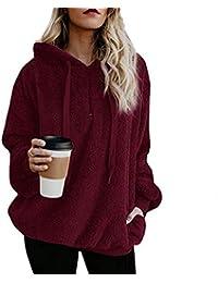 Ajpguot Damen Kapuzenpullover Herbst Winter Hoodie Pullover Teddy-Fleece  Warm Kapuzenpulli Mantel Langarm Oversize Sweatshirt 1dbd807524