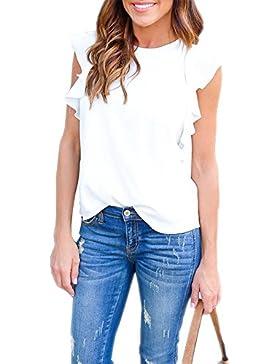 Mujeres Sin Mangas Camiseta de Verano Batwing Cuello Redondo Camisa Suelta Blusa