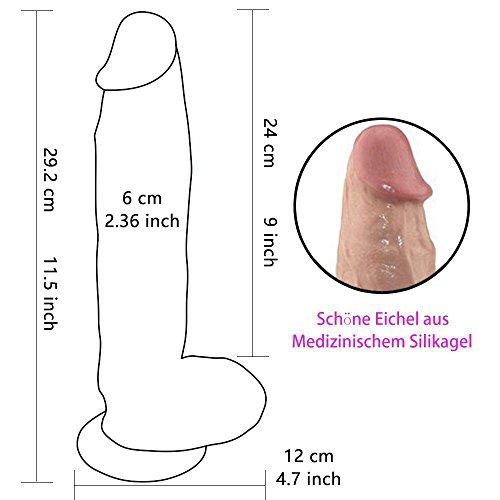 MaYaMang 11.5 inch Silikon Dildo mit Saugnapf Realistische Real Dong Penis Nachbildung Dildos für Frauen mit kontinuierlichen Orgasmus (Fleisch) - 7